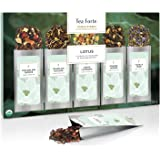 Tea Forte Lotus Single Steeps Organic Loose Leaf Tea Sampler, 15 Single Serve Pouches - Black Tea, Green Tea, Oolong Tea, White Tea, Herbal Tea