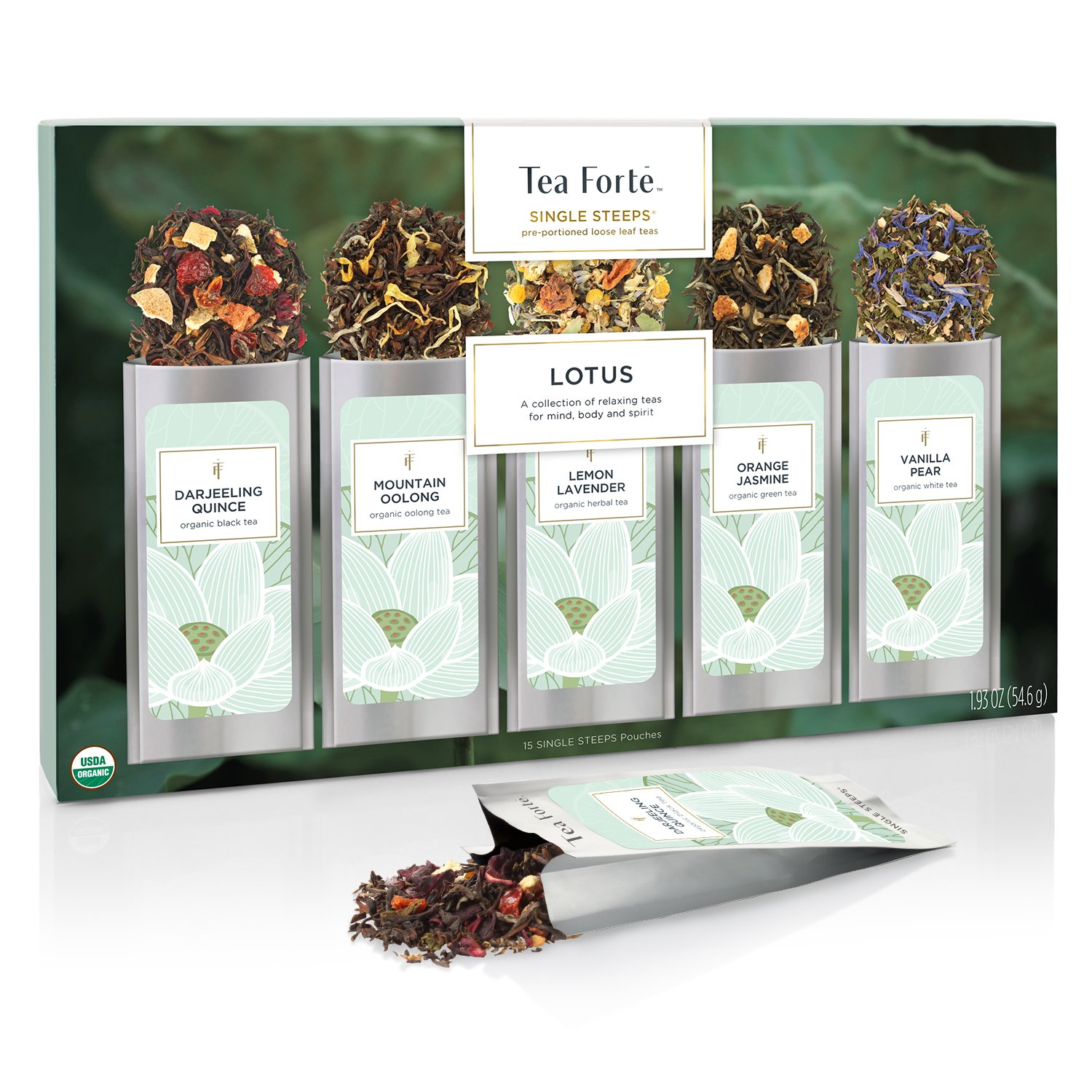 Tea Forté SINGLE STEEPS Lotus Loose Leaf Tea Sampler, Assorted Variety Tea Box, 15 Single Serve Pouches – Black Tea, Green Tea, Oolong Tea, White Tea, Herbal Tea