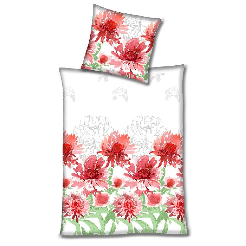 Hahn Haustextilien Satin Bettwäsche rote Sommerblumen 135x200 cm