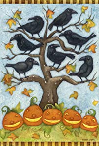 Toland Home Garden Crows n Jacks 12.5 x 18 Inch Decorative Fall Autumn Halloween Pumpkin Bird Garden Flag