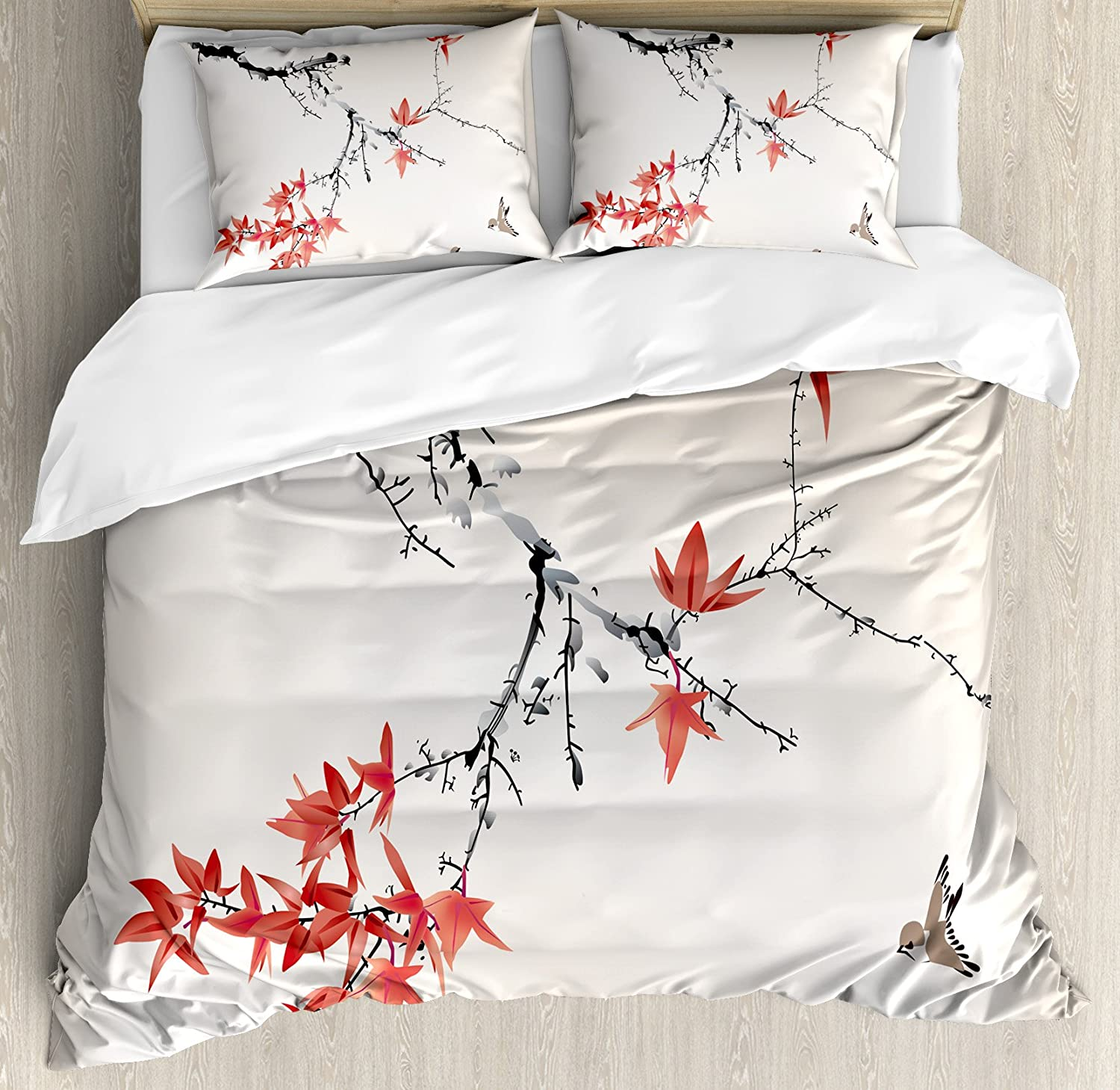 Ambesonne Japanese Duvet Cover Set, Cherry Blossom Sakura Tree Branches Romantic Spring Themed Watercolor Picture, Decorative 3 Piece Bedding Set with 2 Pillow Shams, King Size, Coral Black