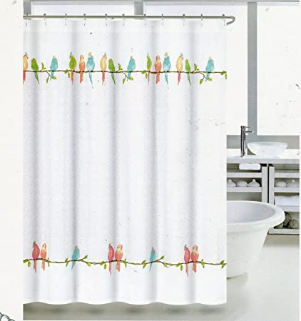 Coastal Collection Parakeets Fabric Shower Curtain