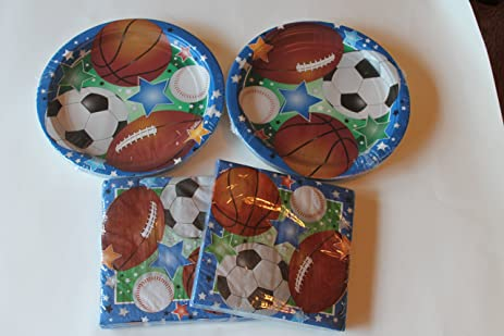 Sports Themed Paper Plates and Napkins (Basketball Baseball Football \u0026 Soccer by & Amazon.com: Sports Themed Paper Plates and Napkins (Basketball ...