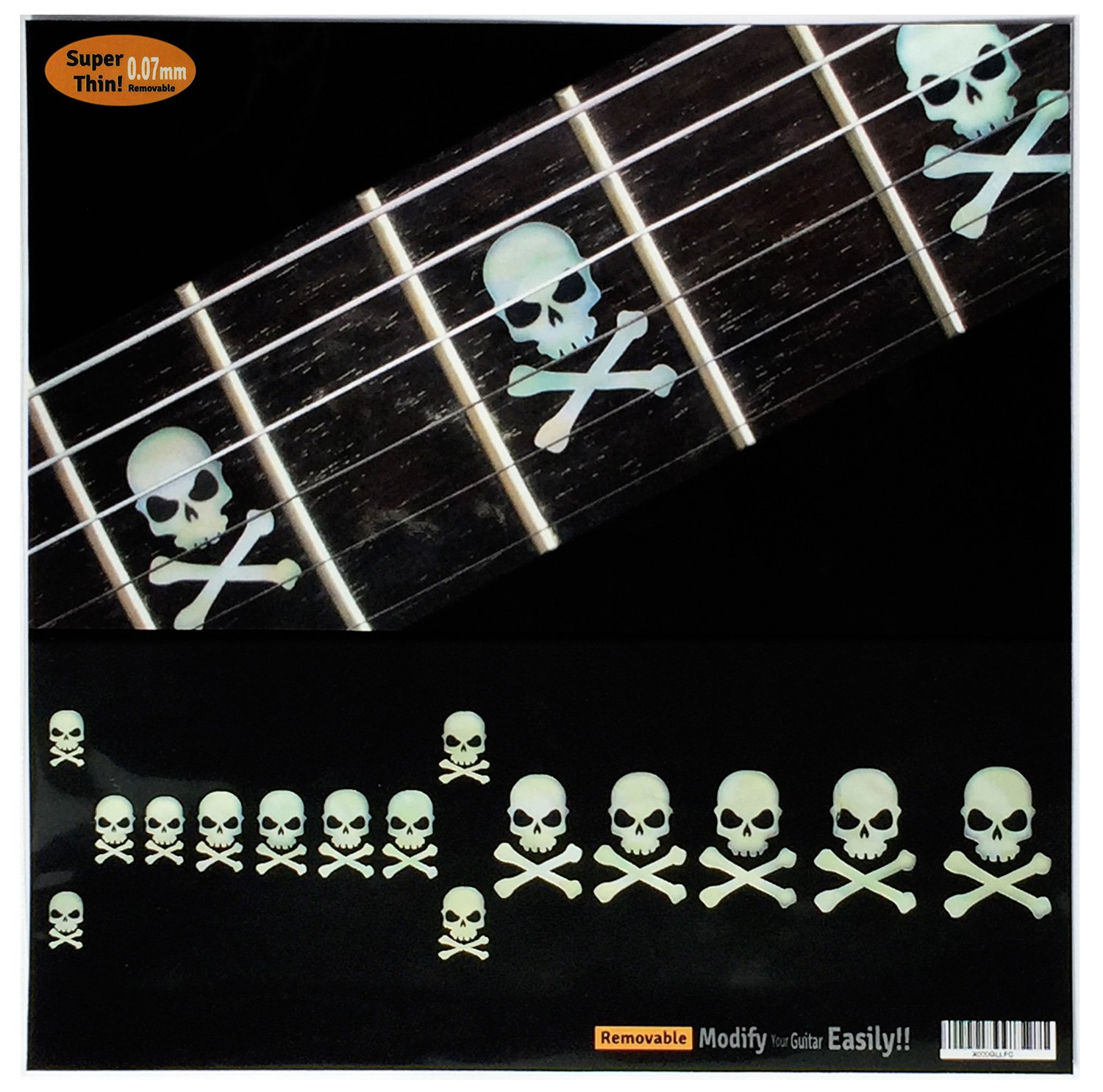 Amazon com fretboard markers inlay sticker decals for guitar bass sideways skull w crossbones musical instruments