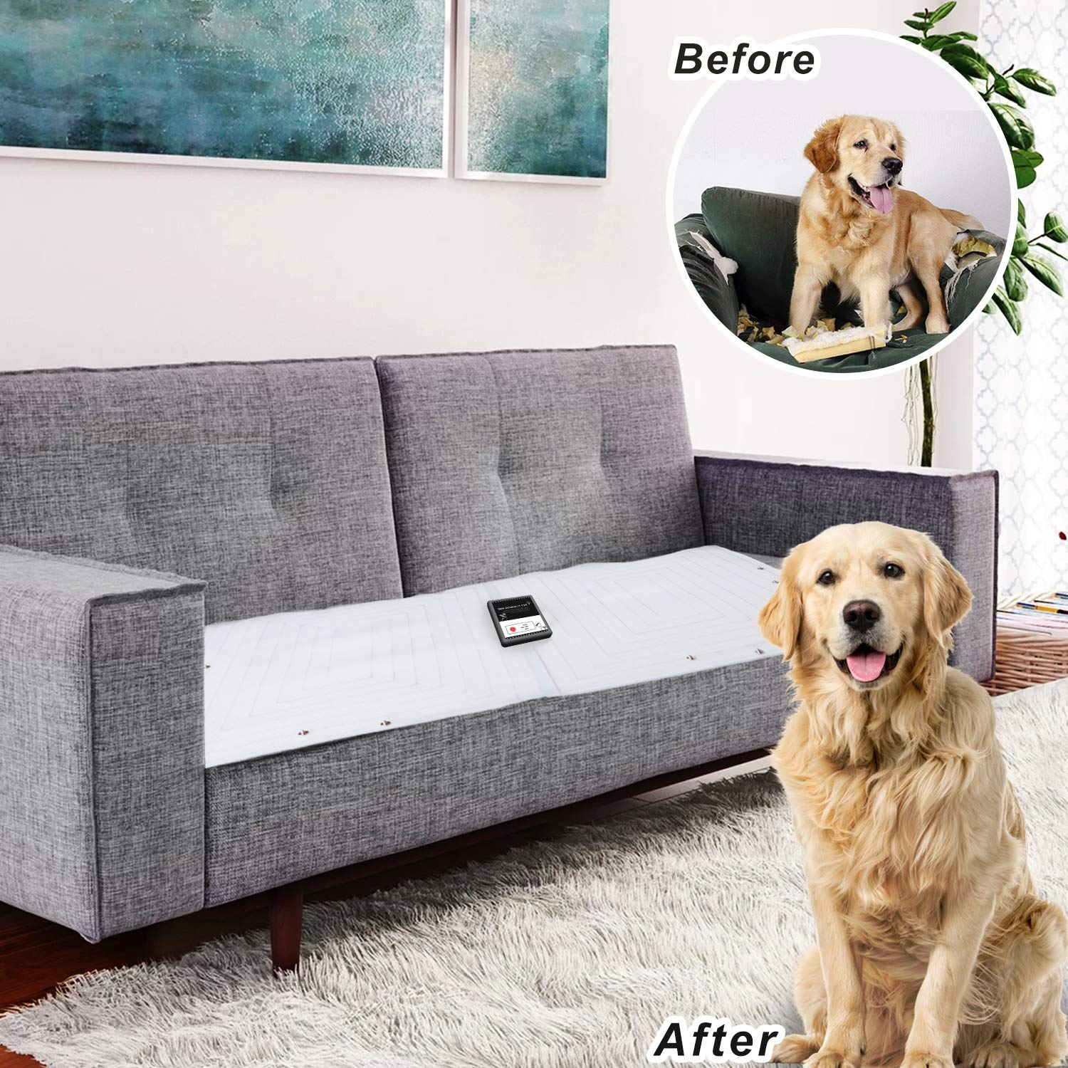 Pet Scat Cat Mat, Pet Training Mat for Dogs Cats, Dog Sofa Scram, Couch Protectors from Dogs Keep Dog Off Furniture Couch Pet Barrier for Off-Limit Areas, Indoor Scat Shock Mat, 2 Pieces for One Set