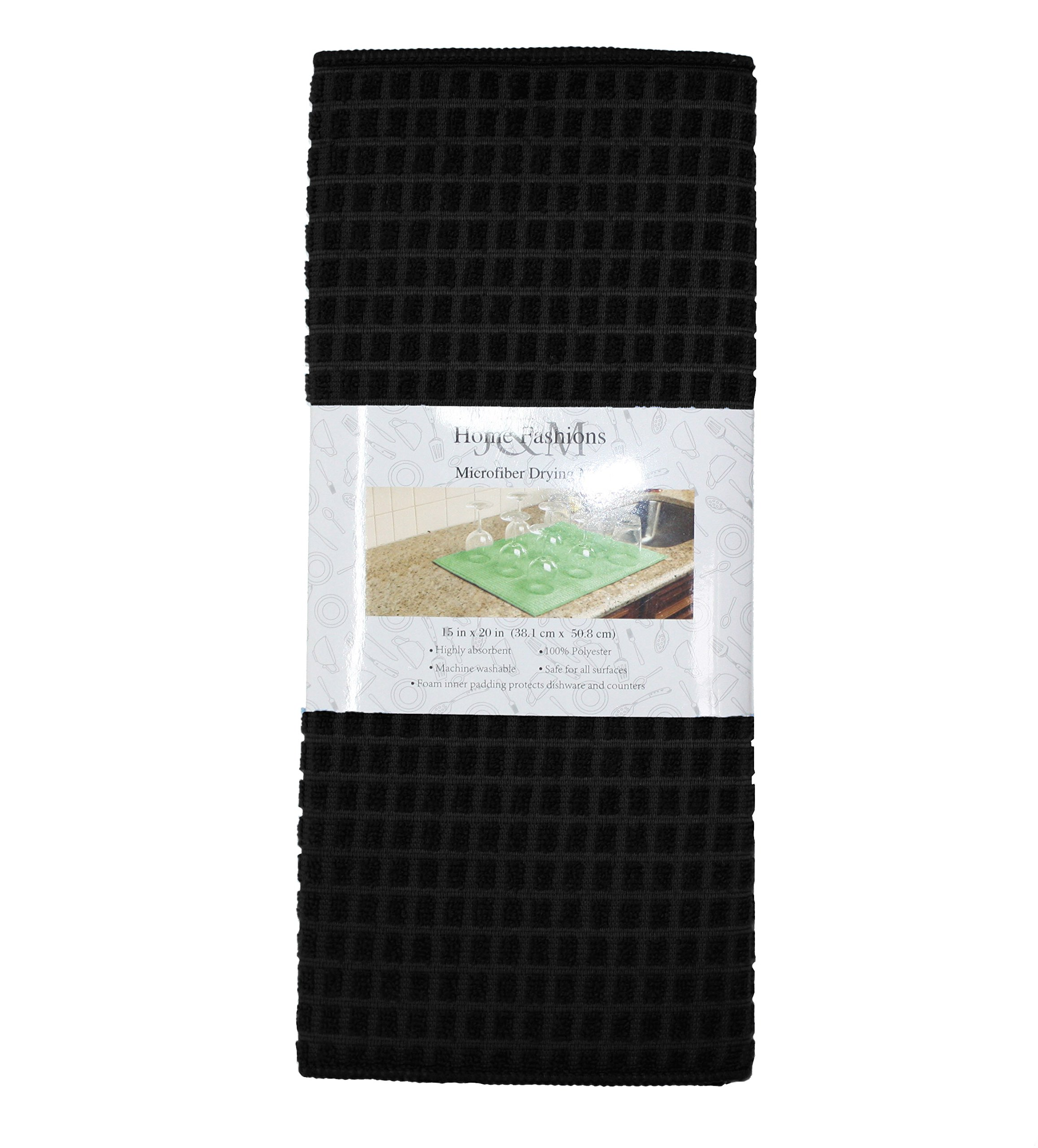 J&M Home Fashions Microfiber Check Dish Drying Mat, 15x20'', Absorbent Fast Dry Machine Washable for Kitchen Countertop-Black