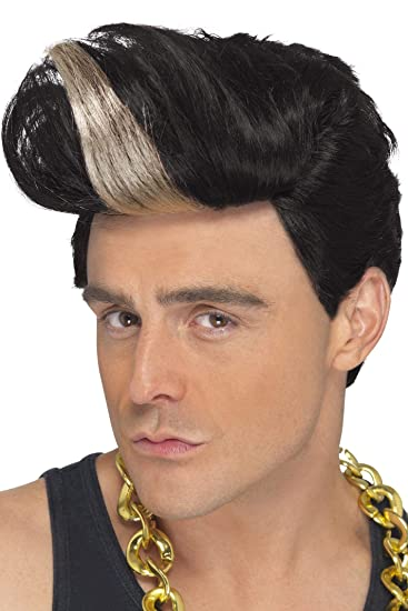 Amazon Smiffys Mens Black Quiff Wig With Blonde Highlight One
