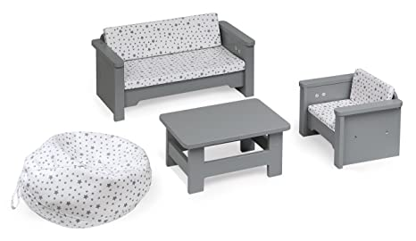 Badger Basket Living Room Doll Furniture, Gray/White