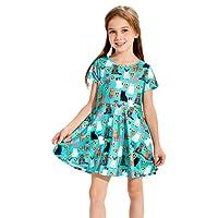 Funnycokid Petite Fille Robes de Fleur D 'est de Votre Ressort Est Imprimé Patineuse sans