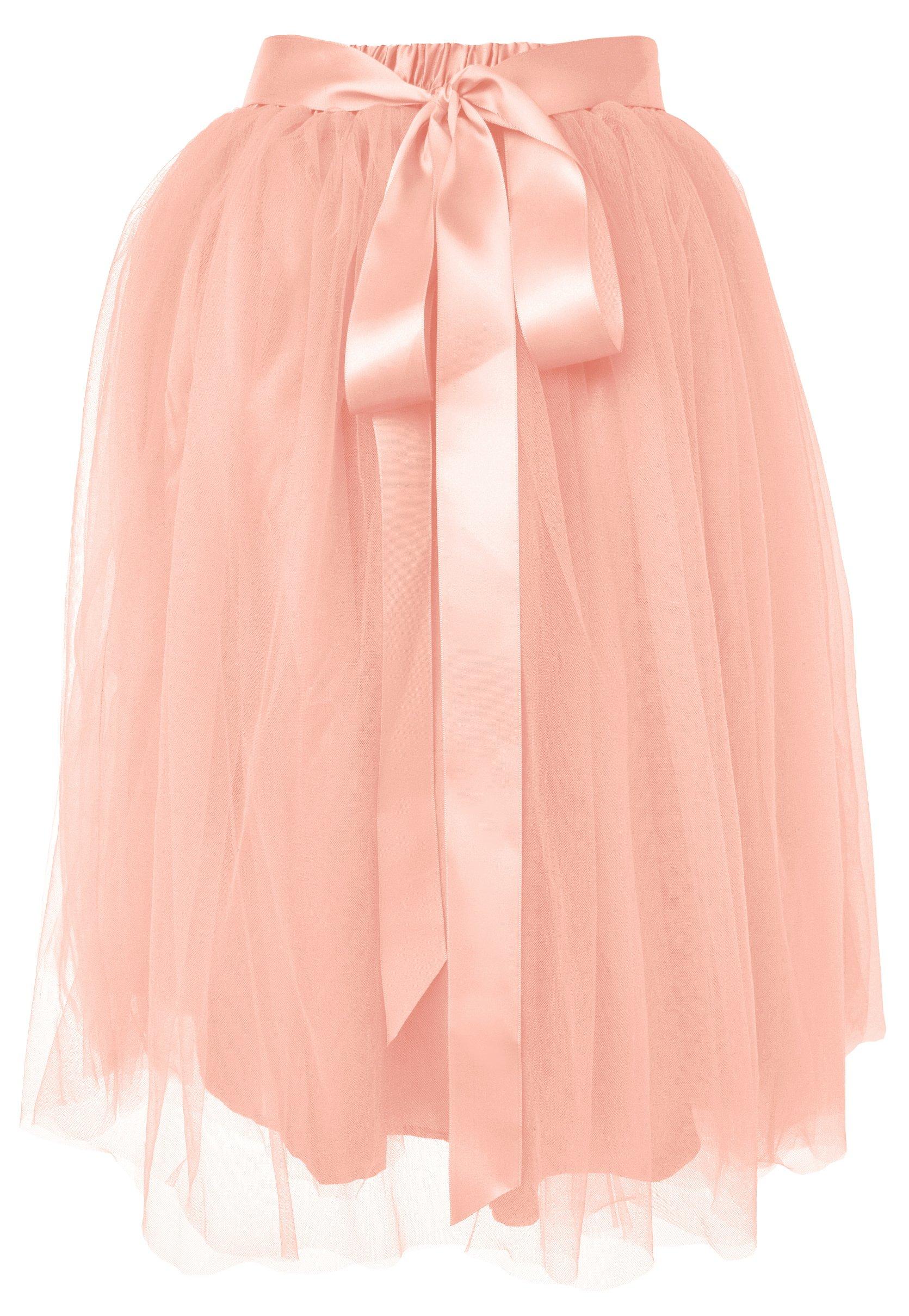 Dancina Women's Knee Length Tutu A Line Layered Tulle Skirt Size Regular 2-18 Blushpink