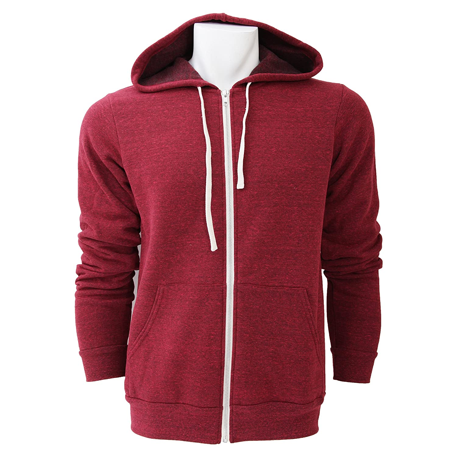 Canvas Unisex Full Zip Hoodie : Color - Red Triblend : Size - XS