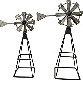 """DNS S/2 Windmill Statues Small Rustic Metal Home Room Shelf Table Window Indoor Outdoor 12"""" & 10"""" H"""