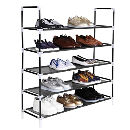 Homdox Stackable Shoe Rack, Shoe Tower 5 Tiers Super Space Saving Shoe  Storage Organizer Entryway