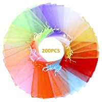 Angooni 200PCS Sheer Organza Gift Bags Wedding Favor Bags with Drawstring, 4x6 Inch Jewelry Pouches Party Festival Candy Bags(10 Colors)