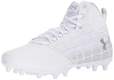 44dc08a3f275 Under Armour Men's Banshee Mid MC Lacrosse Shoe, White (100)/Metallic Silver