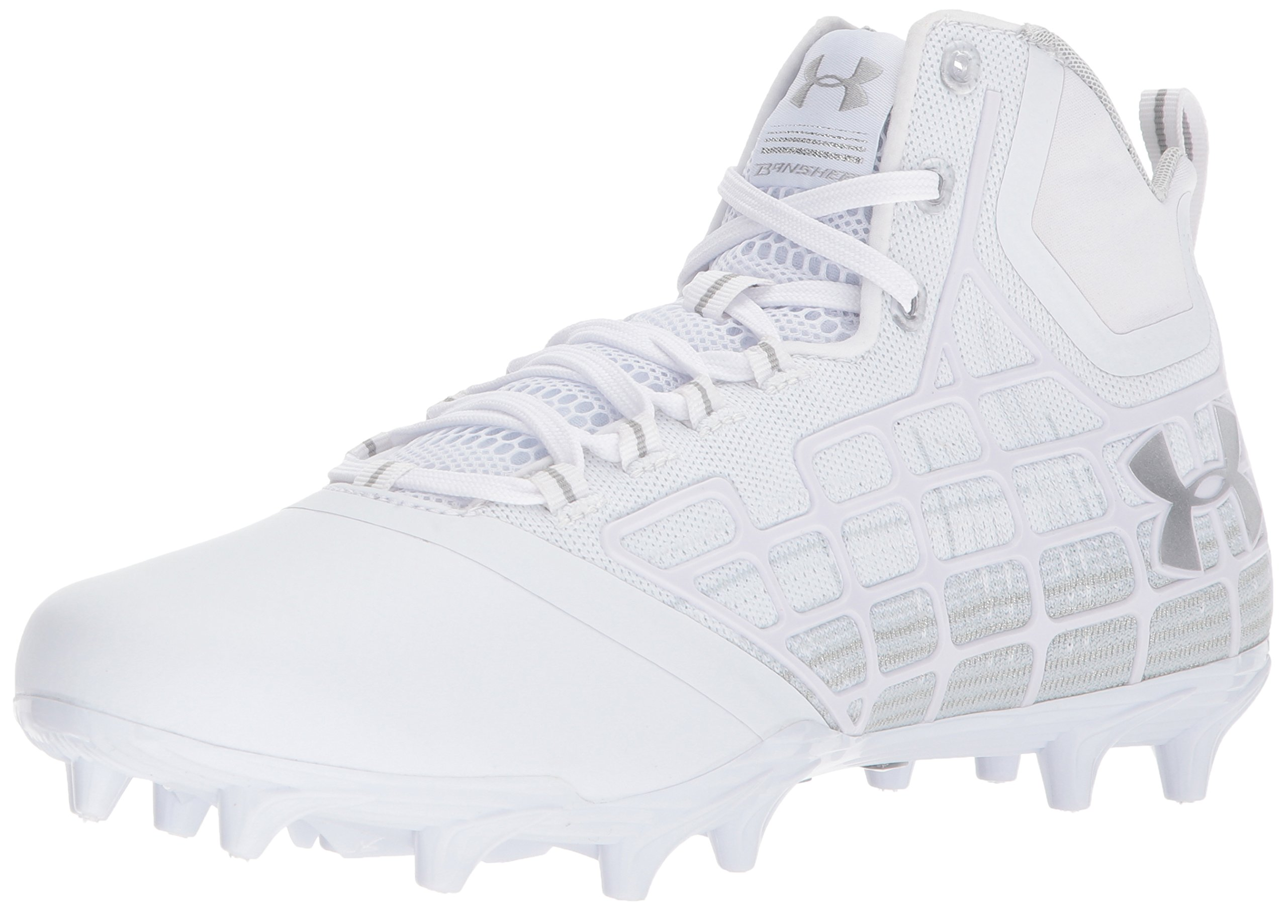 Under Armour Men's Banshee Mid MC Lacrosse Shoe, White (100)/Metallic Silver, 7.5