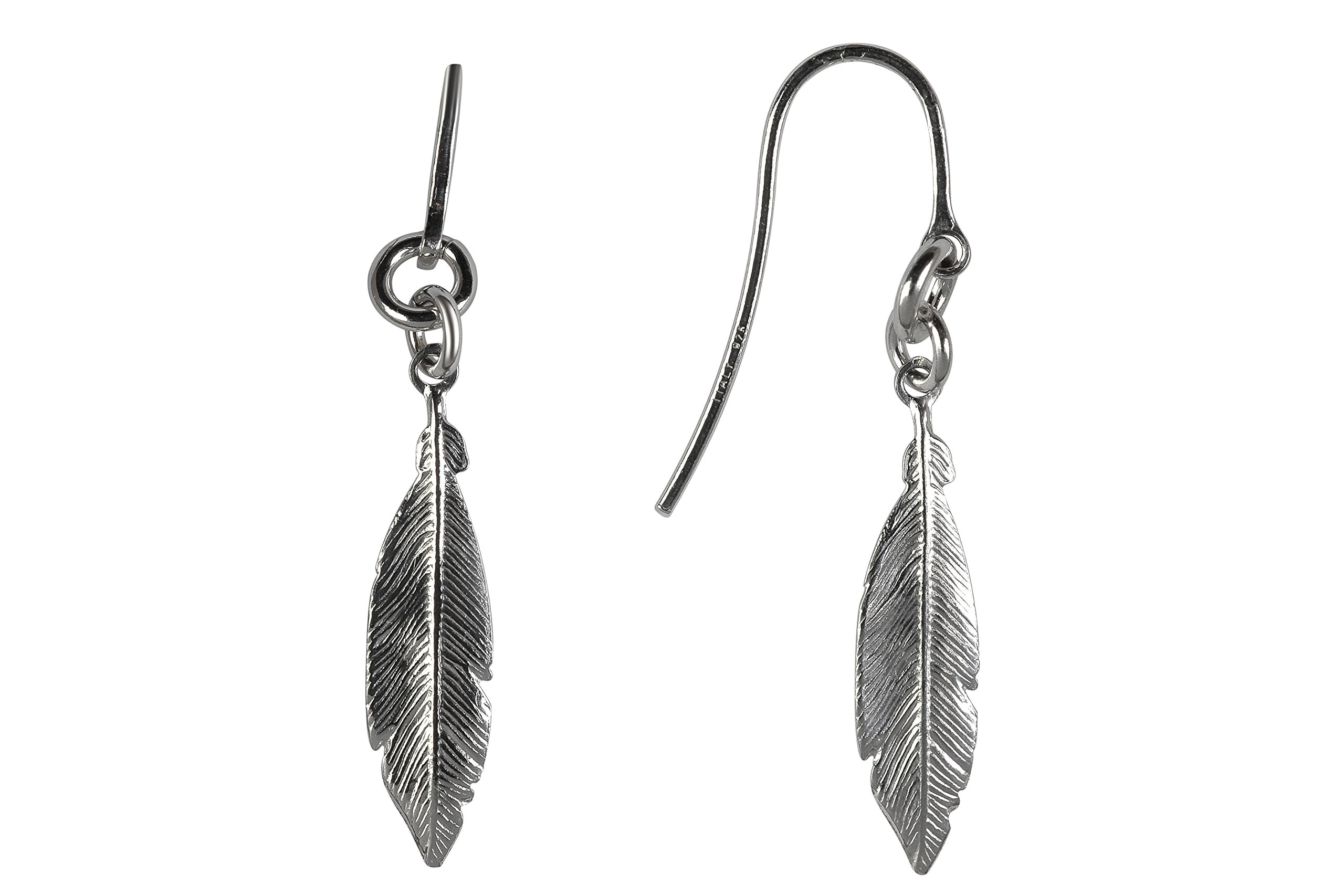 GiftsFromTheHeart 925 Sterling Silver Women's Feather Earrings Size Medium