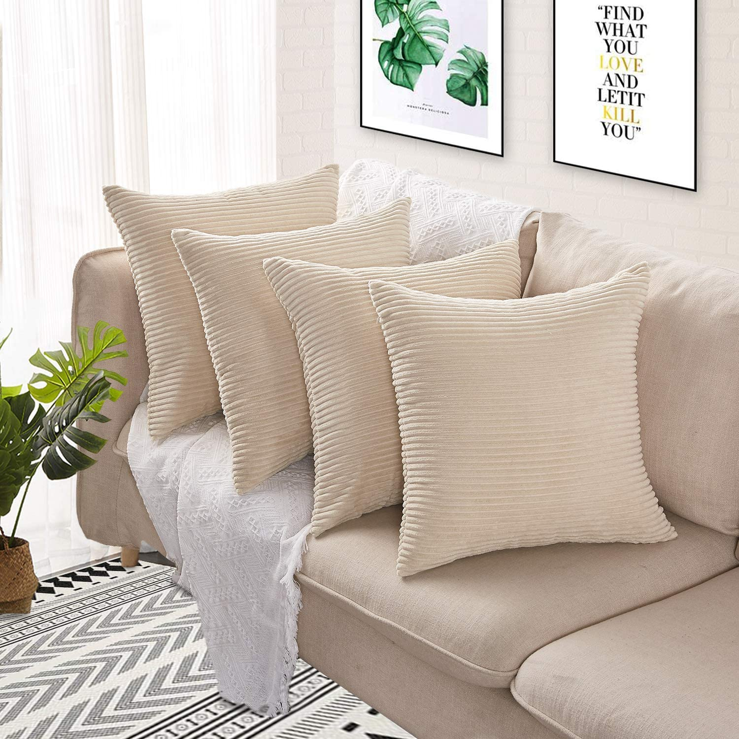 Sofa Renee 4 Pcs Corduroy Throw Pillow Covers Cushion Case, Decorative Square Pillowcase for Couch, Sofa, Bedroom, 20x20 Inch Cream