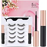 Updated 3 D Magnetic Eyelashes And Eyeliner Set- 2 Tubes of Magnetic Eyeliner & 5 Pairs Magnetic Eyelashes Kit-With Natural L