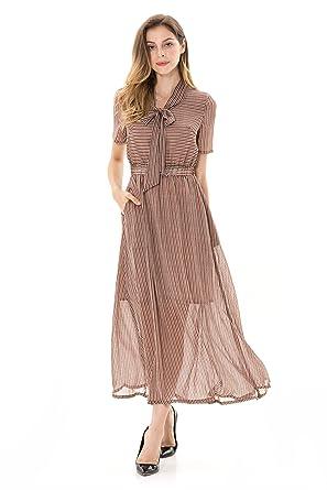 270e31991efc NIUEIMEE Womens Summer Short Sleeve Bow Neckline Striped Long Chiffon Maxi  Dress Coffee