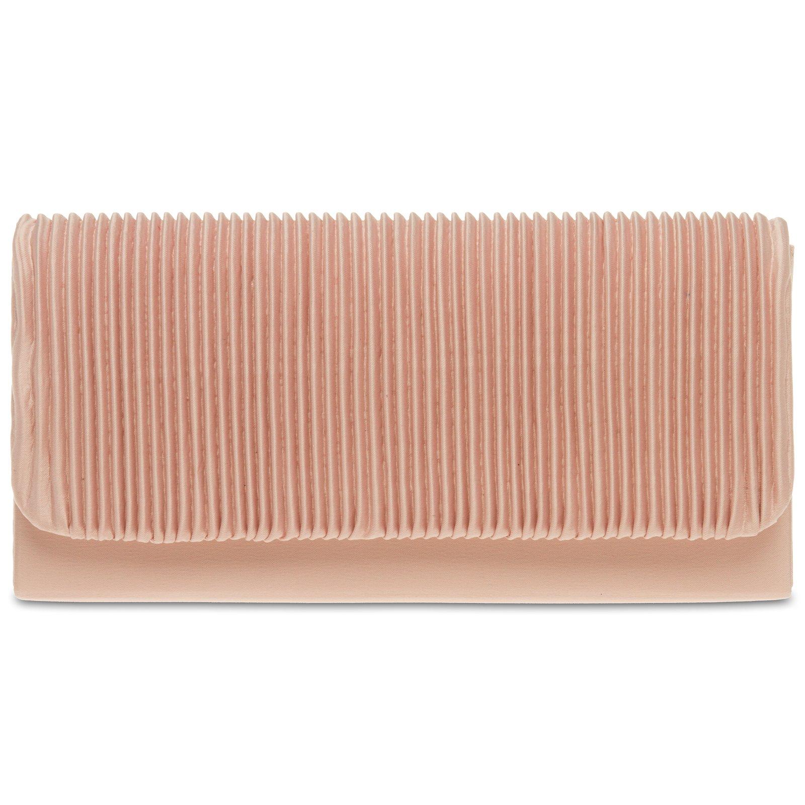 Caspar TA351 Bolso de Mano Fiesta Pequeño para Mujer Clutch con Tejido Drapeado, Talla:Talla Única, Color:rosa