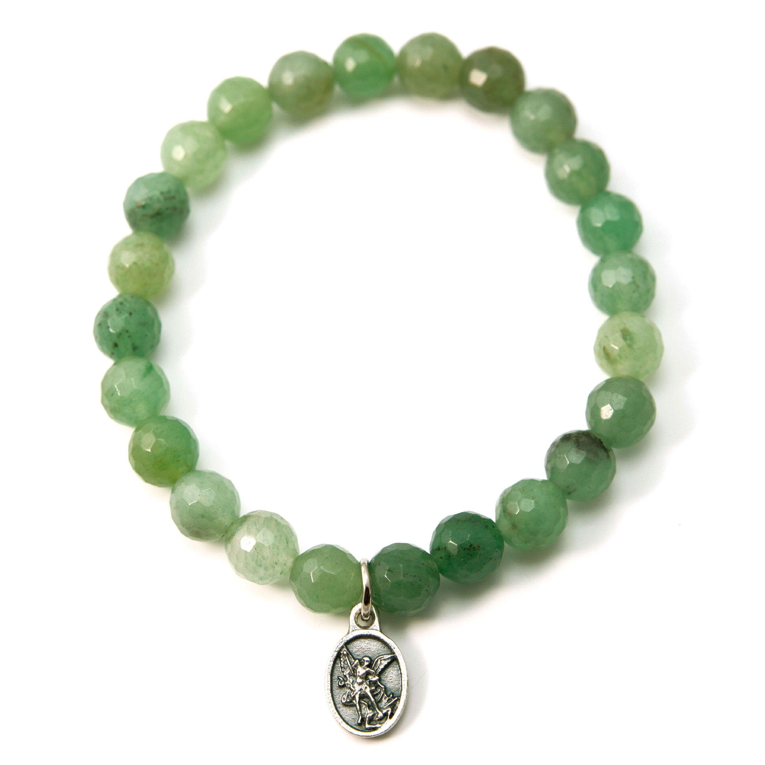 Silver Inches Christian Bracelet Saint Michael Protector Green Aventurine 6.5'' Stretch Bracelet