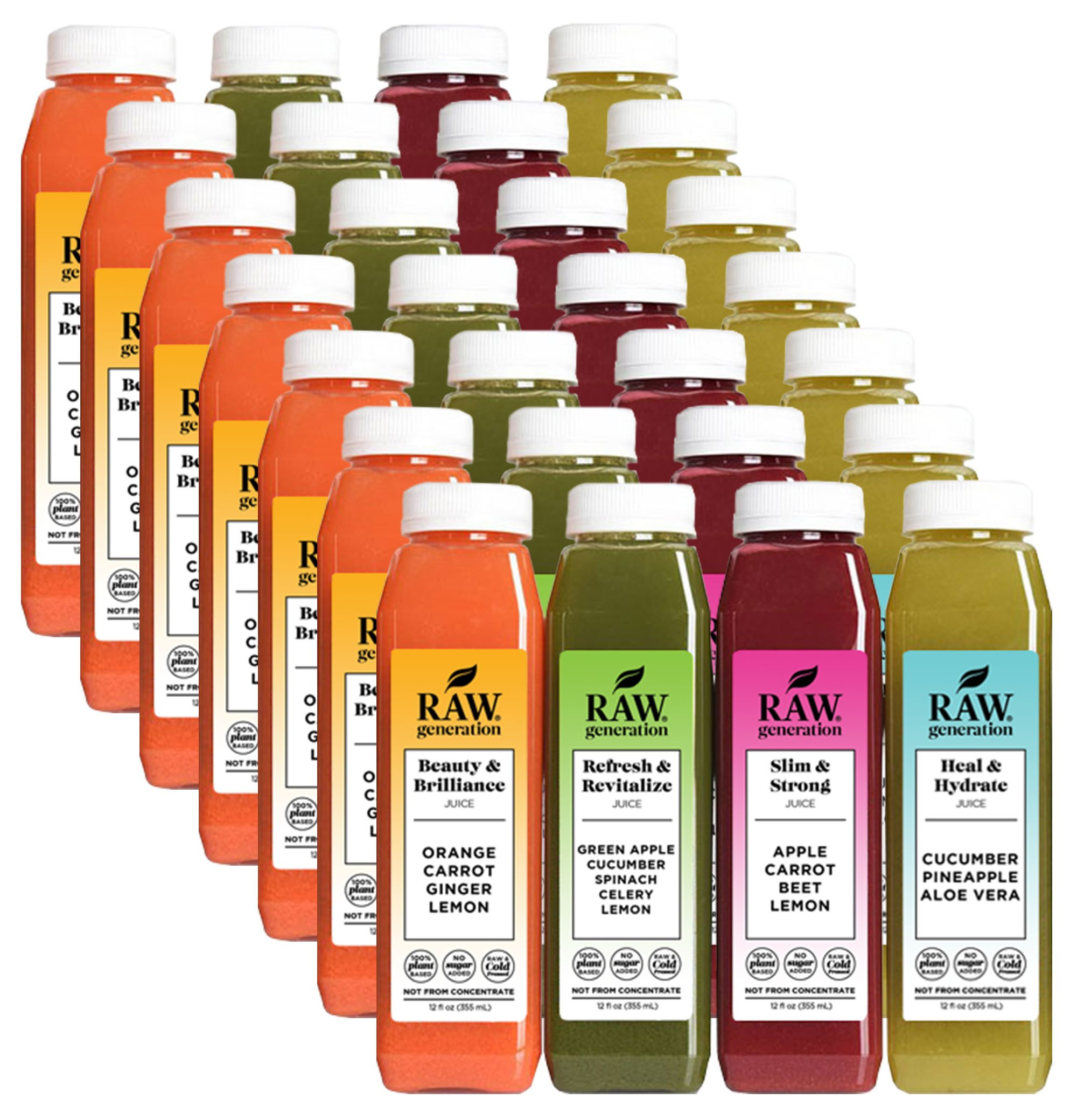 Raw Generation 80/20 Juice Cleanse - 7 Day Cleanse / You Can Eat While You Juice Cleanse / 100% Raw Juice