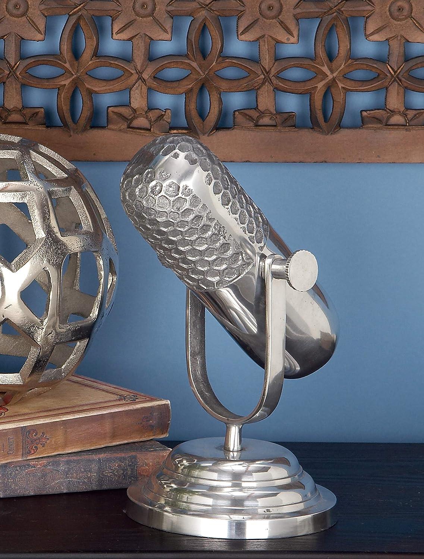 "Deco 79 34652 Rustic Metal Microphone Sculpture, 9""H x 9""L, Sleek Silver Finish"