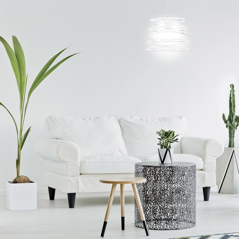 Relaxdays L/ámpara de techo Dise/ño Anillos Moderna Blanco E27