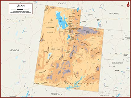 Amazon.com : Academia Maps - Utah State Wall Map - Fully Laminated ...