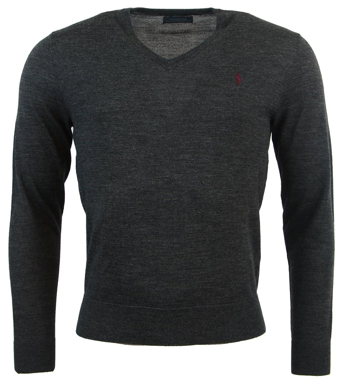9f4df586 Polo Ralph Lauren Mens Custom Fit Merino Wool V-Neck Sweater