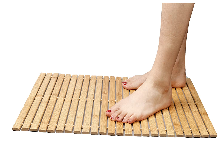 Foldable Bamboo step Mat Indoor/Outdoor Bath, Shower and Floor Mat Non Slip Bottom water Resistant Vented Design HomeToilet bathroom Spa Sauna Mat (L23.6* W15.7) IshowStore COMIN18JU063340