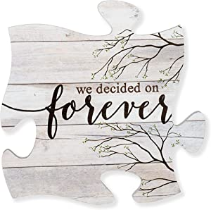 P. Graham Dunn We Decided On Forever Branches Distressed Wood Look 12 x 12 Inch Wood Puzzle Piece Wall Plaque