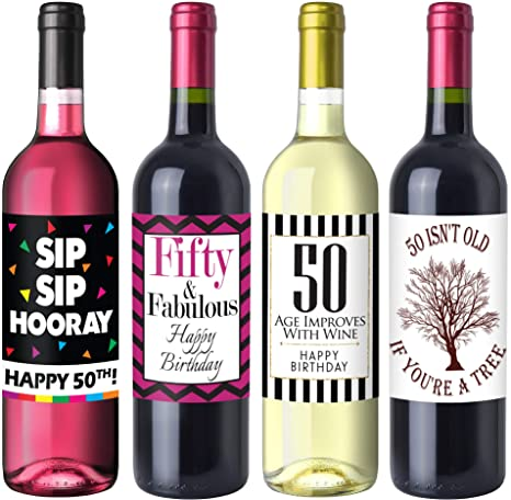 Amazon.com: Chic 50º cumpleaños Wine Label Pack – Fiesta de ...