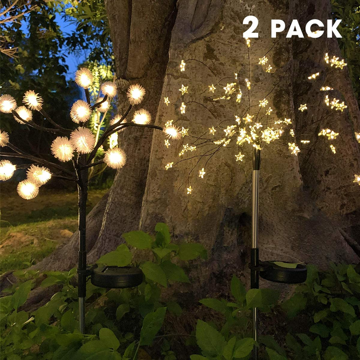 Upgraded Solar Garden Lights Outdoor, 2 Pack Solar Powered Pathway Lights Solar Fairy Flower Lights Waterproof for Garden Patio Yard Pathway Christmas Decoration (Warm White)