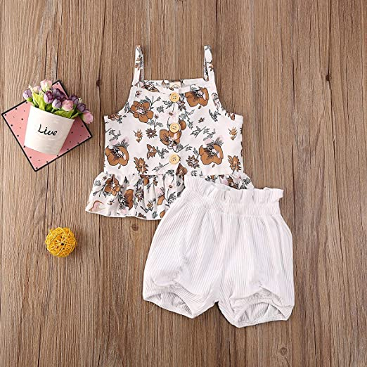 2Pcs Baby Girl Shorts Set Sleeveless Solid Floral Button Ruffle Hem Strap Halter Tank Top Shorts Summer Outfits Clothes