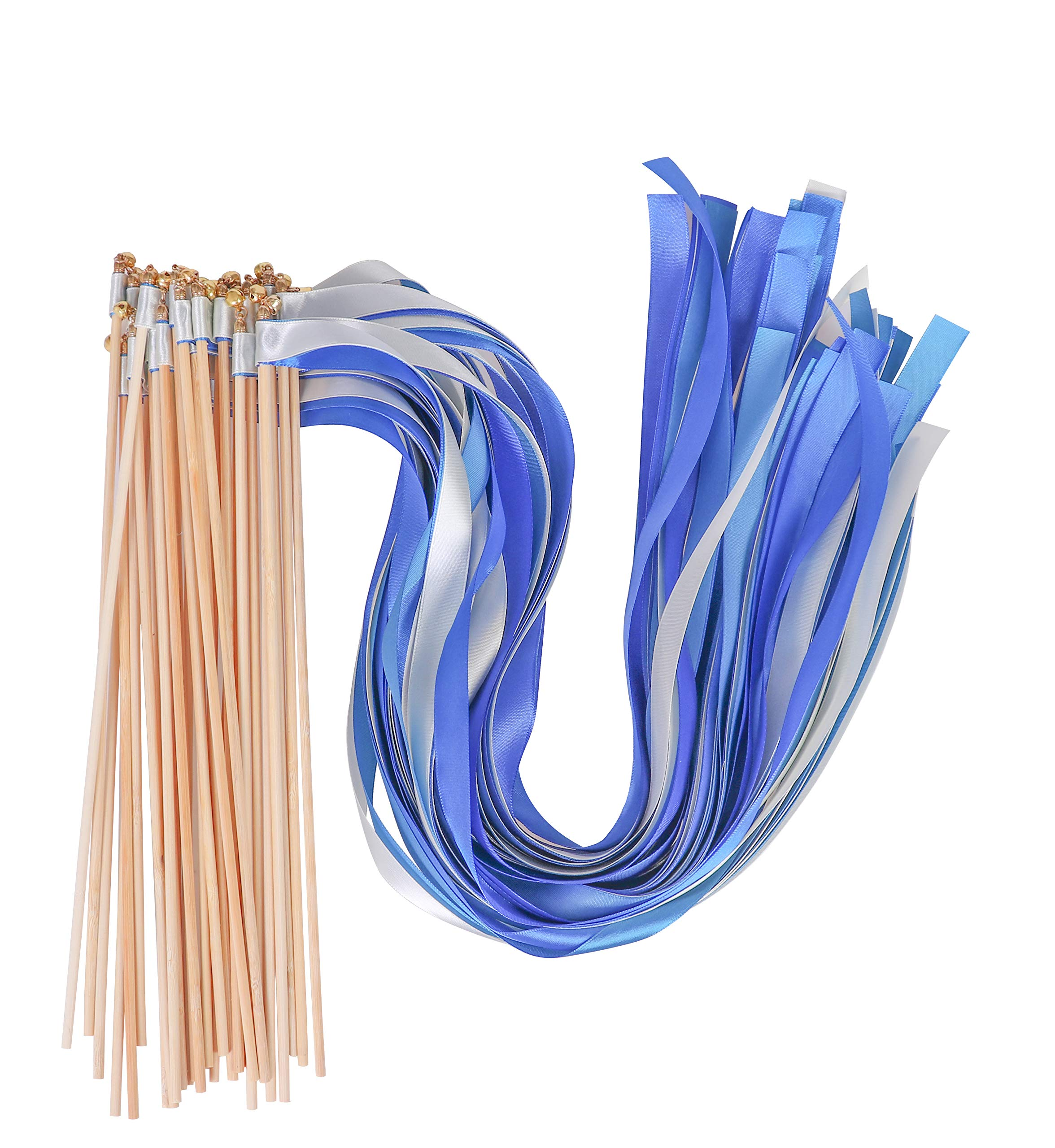 30 Pcs Wishprom Ribbon Wands Bells Fairy Wands Wedding Streamers Stick Party Silk Ribbon Bells Wedding Party Activities (Blue) by LUUDE
