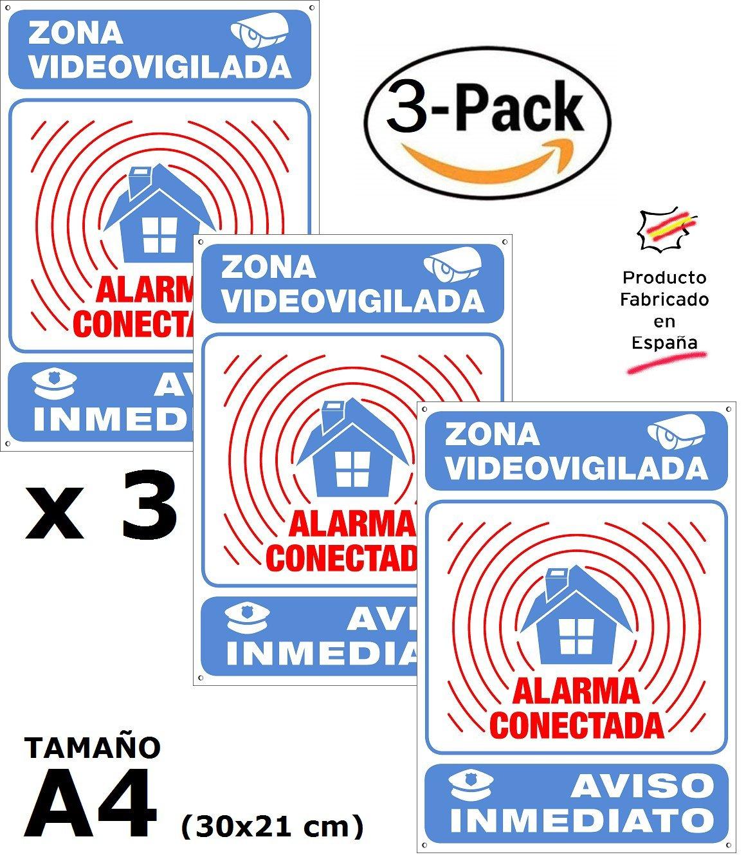 tualarmasincuotas.es ▶ Pack o Lote de 3 Carteles disuasorios A4 Interior/Exterior Premium y Ultra-Resistentes, Placas disuasorias metálicas, 30x21 cm ...