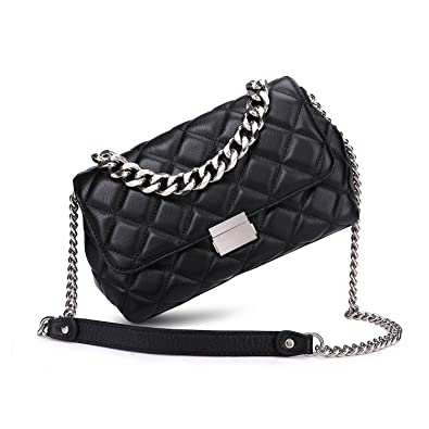 8e01b4c7db8b Quilted Leather Crossbody Bags For Women Designer Shoulder Handbags Purse  With Metal Chain Strap (Black