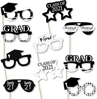 product image for Big Dot of Happiness Black and White Grad Glasses - Best is Yet to Come - Black and White 2021 Paper Card Stock Graduation Party Photo Booth Props Kit - 10 Count