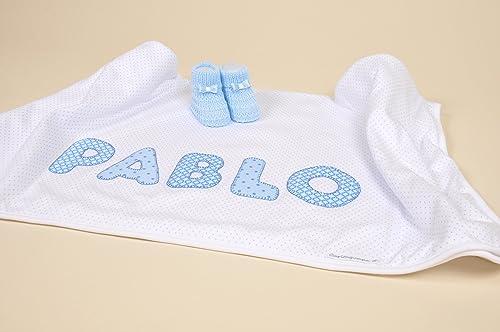 Bonito conjunto de arrullo de algodón en color blanco con topitos ...
