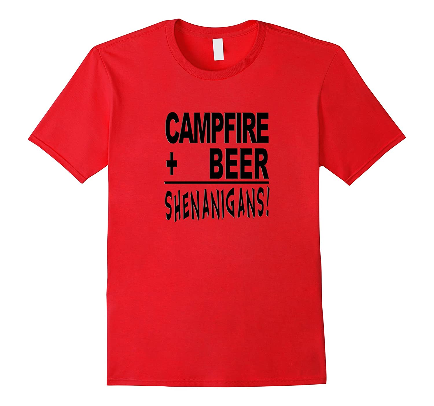 Campfire Drink Beer Shenanigans Funny Camp Humorous T shirts-CD