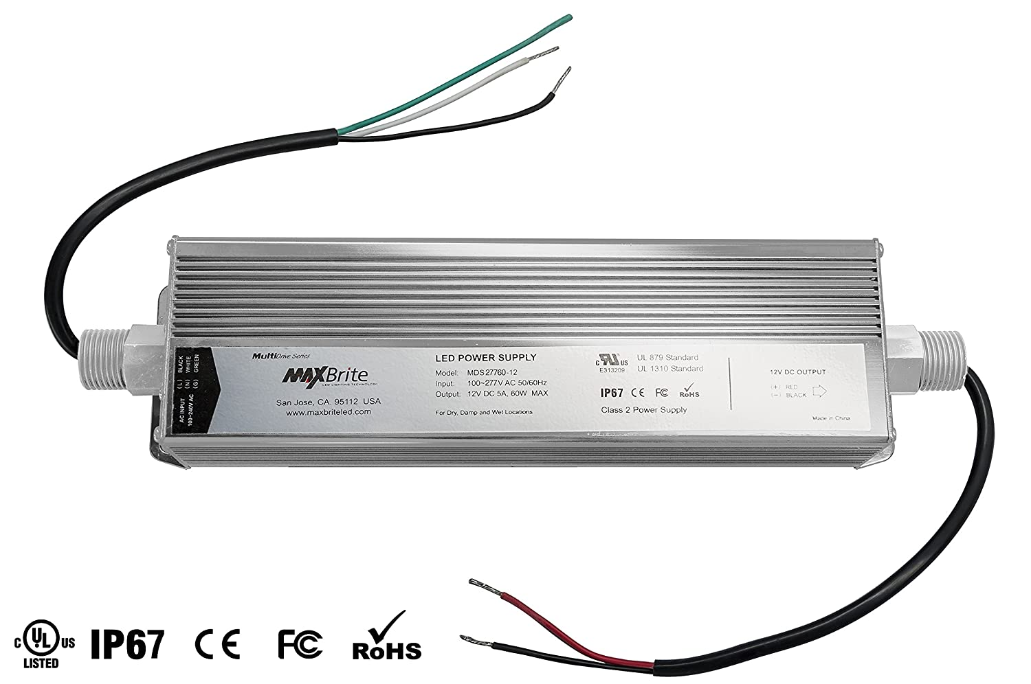 60w Led Power Supply 12v Dc Output 100 277v Ac Input Ip67 Wiring 12 Volt To Waterproof Ul Cul Certified Ce Rohs Class 2