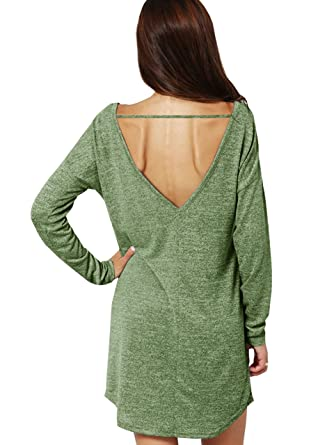 7b24377d788c Jiujiuyi Womens Long Sleeve Backless T-Shirt Dress Plain Loose Casual Tunic  Dresses: Amazon.co.uk: Clothing