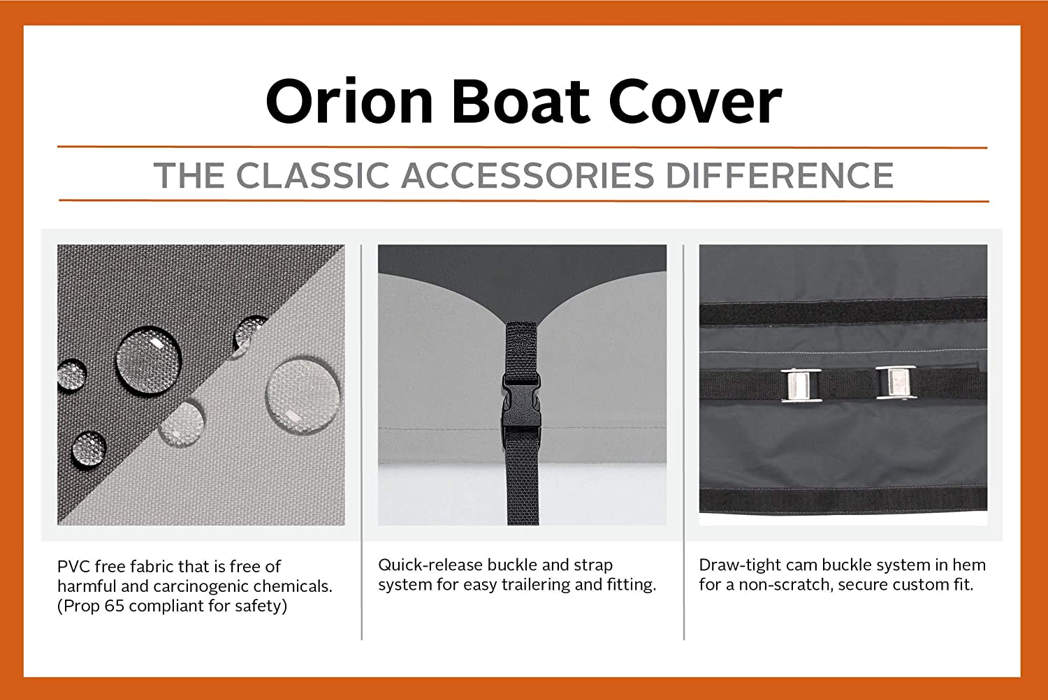 Classic Accessories Orion Trailerable Boat Cover With Cam Buckle For  Utility/Fishing Boats