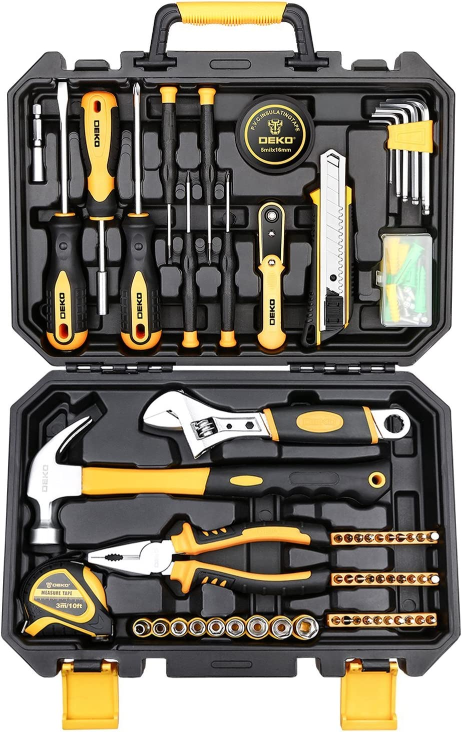 DEKOPRO 100 Piece Home Repair Tool SetS,Plastic Tool Box Storage with General Household Hand Tool Kit