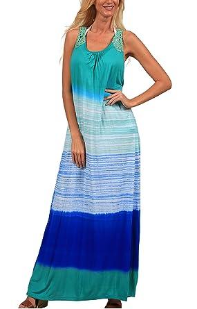 9038ee7591 INGEAR White Black Tie Dye Maxi Dress Summer Crochet Tank Racerback Cover  Up (Small/