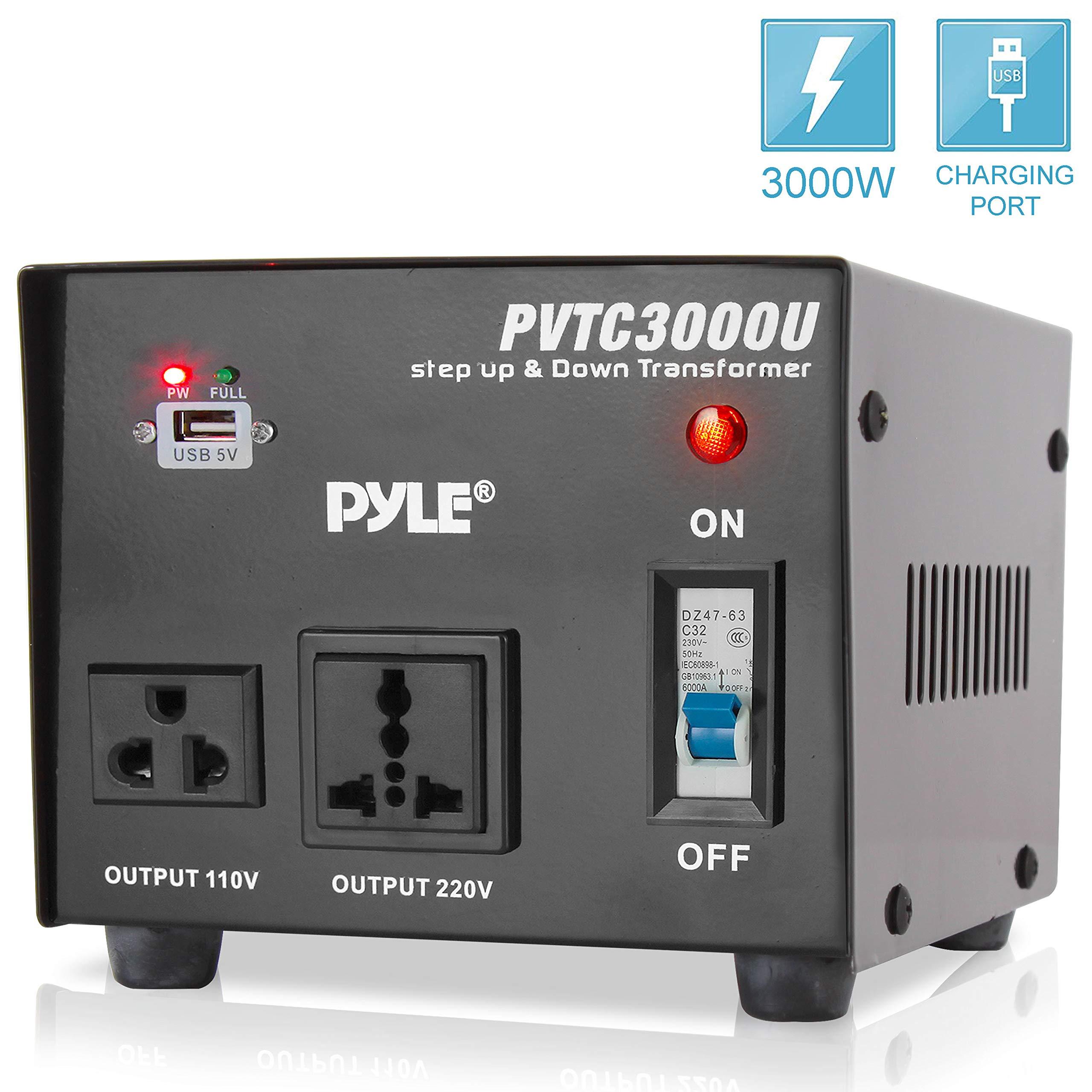 Pyle 2 Plug voltage converter Step Up and Down AC 110/220 Volts Transformer USB Charging Port, 3000 Watt