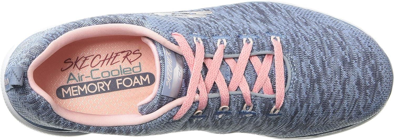 Skechers Damen Flex Appeal 3.0-13062 Sneaker Grau Slate Pink Knit Mesh Weiß Trim Sltp