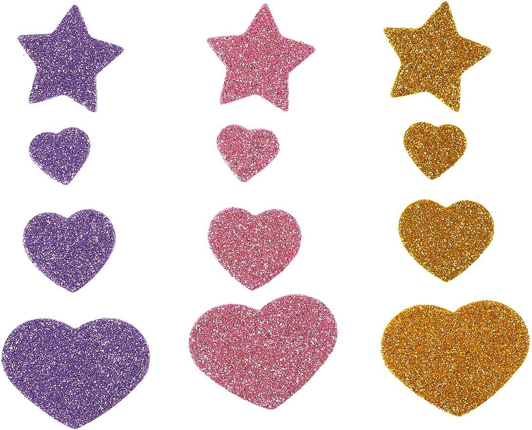 Green Purple 210-Count Foam Stickers Includes Heart and Star Shaped Self-Adhesive Labels Blue Glitter Stickers 6 Colors 2 x 1.5 Inches Pink and Gold Red